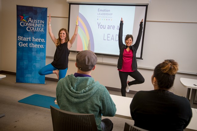 Yoga Pose during a Presentation